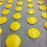 Sonnengelbe Macarons beim Vortrocknen