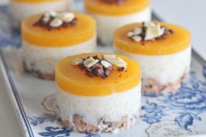 no bake Milchreis Pfirsich Törtchen mit Müsliboden