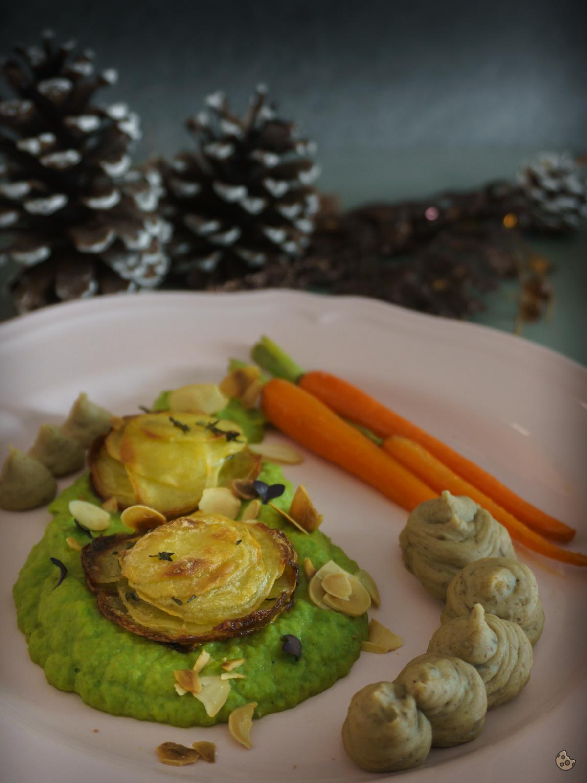 Knusperkartoffeln Erbsen- und Maronenpüree von keksstaub